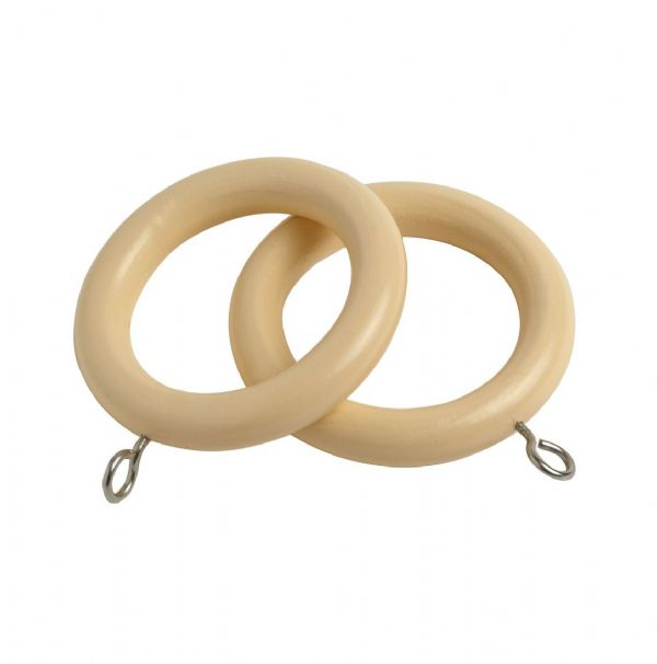 Speedy County 28mm Wooden Curtain Rings (Pack of 4) - Cream